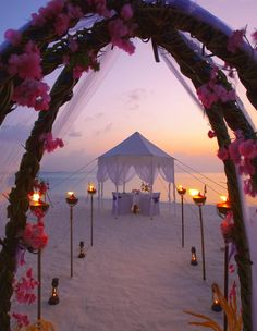 Sunset wedding on the beach ~ Stunning!