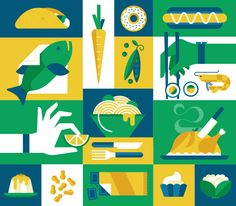 Monocle Magazine Collection on Behance Pattern Illustration, Flat Illustration, Food Illustrations, Character Illustration, Graphic Design Illustration, Fashion Illustrations, Food Graphic Design, Graphic Design Inspiration, Monocle Magazine