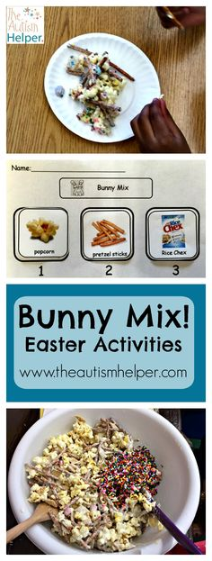 Bunny Mix! This crunchy & sweet recipe is one of our favorites for Easter. We've got both a visual & written recipe to use either as a whole class lesson or in small groups. Yum!