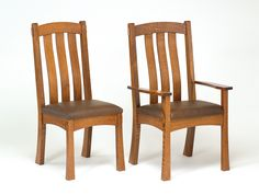 Modesto Chairs. Quarter Sawn Oak with Leather Seat.