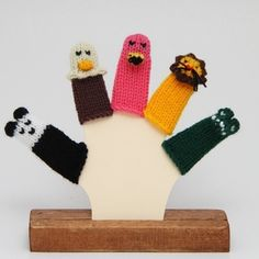 More Zoo Animals Finger Puppet Set Includes Panda Bald by WeeKnit, $11.50