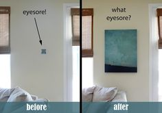 Some things necessary to a home's function can be covered or hidden and still work perfectly. This trick lets you cover up a thermostat or alarm with just a canvas portrait and some hinges.