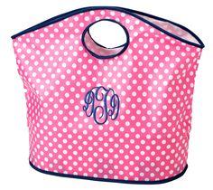 Cute Pink monogrammed Beach Bag