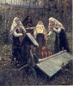 """""""For the peace of"""" by V. Rassohin - Depicting a Orthodox Russian Ritual Russian Painting, Russian Art, Catholic Art, Religious Art, Old Believers, Vintage Holy Cards, Russian Orthodox, Orthodox Christianity, Christian Art"""