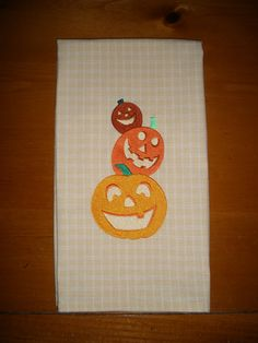Halloween Pumpkin Embroidered Towel by LynnsCozyQuilts on Etsy, $8.99
