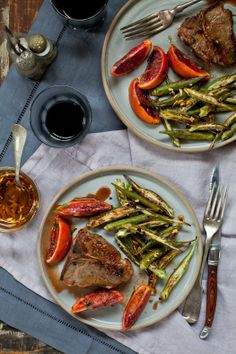 Seared Lamb Chops With Blood Orange Sauce and Roasted Okra With Chili Oil  