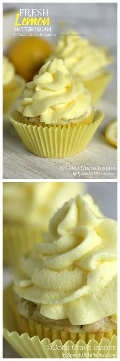 This Fresh Lemon Buttercream is easy to make and results in a deliciously luscious frosting that is light and citrusy. Perfect on cupcakes or banana cake!(Baking Cakes And Cupcakes) Lemon Buttercream Frosting, Frosting Recipes, Cupcake Recipes, Cupcake Cakes, Dessert Recipes, Baking Cupcakes, Lemon Cupcakes, Butter Frosting, Cup Cakes