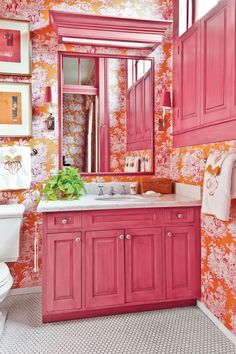 Pink Passion Magenta And Orange Toile Wallpaper Envelops The Room And Matches The Pink Cabinetry Trim And Shutters