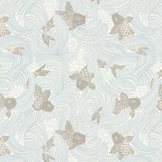 Gray Koi Fish Fabric   Stream Up Mist   Loom Decor