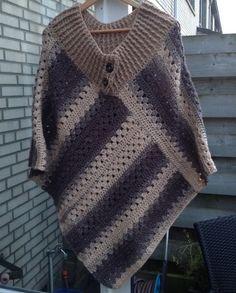 Poncho van Rachel (zeeman) en patroon van Ellen Crochet Poncho Patterns, Knitted Poncho, Crochet Scarves, Crochet Shawl, Crochet Clothes, Crochet Stitches, Knit Crochet, Poncho Shawl, Crochet Designs