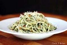 Spinach pesto. I got goosebumps. http://circle-b-kitchen.squarespace.com/food-and-recipes/2012/2/4/pasta-with-spinach-pesto.html