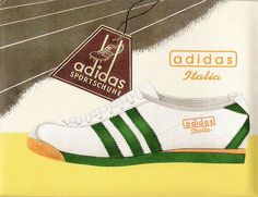 A STYLISH VINTAGE ADIDAS POSTER FOR THE ITALIA IN THE MUCH SOUGHT AFTER GREEN / WHITE COLOURWAY - CAN I HAVE A PAIR UK SIZE 12 PLEASE :-)