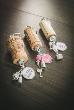 Cork Keychains - Upcycled Wine & Champagne Cork KeychainsHandmade keychains from recycled wine corks. The perfect gift for every wine lover! Color themed beads match the wine quote charm, beads and charms as is in Wine Craft, Wine Cork Crafts, Wine Bottle Crafts, Wine Cork Jewelry, Wine Cork Art, Champagne Corks, Champagne Cork Crafts, Wine Cork Ornaments, Wine Cork Projects