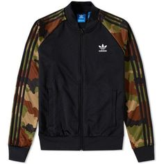 Adidas Essentials Camo Superstar Track Top ($86) ❤ liked on Polyvore featuring men's fashion, men's clothing, men's activewear and men's activewear jackets