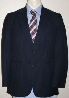 Men's Blue Pinstripe Suit - 36R - Pants 34x27 - Wool Blend - Marshall & Reed #MarshallReed #TwoButton