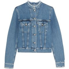 Acne Studios Distressed denim jacket ($380) ❤ liked on Polyvore featuring outerwear, jackets, coats & jackets, tops, acne studios, button jacket, blue denim jacket, jean jacket and blue jean jacket