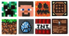 Minecraft perler bead sprites (keychains, broochs, magnets...) by Regalopia Freak Creations