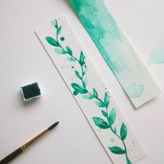No photo description available. Creative Bookmarks, Paper Bookmarks, Watercolor Bookmarks, Watercolor Cards, Watercolour Illustration, Handmade Bookmarks, Diy Marque Page, Bookmark Craft, Bookmark Ideas