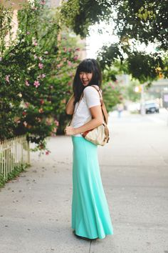 JennifHsieh #Outfit | White V-neck T-shirt, Aldo Canvas Leather Backpack, Turquoise/Mint/Teal Maxi Skirt