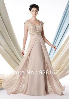 2013  Hot  Selling   Scoop  Long  Chiffon  Dress with  Delicate  Appliques   Mother of  the  Bride  Dress  Evening   Occasions $109.00