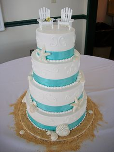 #Beach Wedding Cake with sand ... Wedding ideas for brides, grooms, parents  planners ... https://itunes.apple.com/us/app/the-gold-wedding-planner/id498112599?ls=1=8 … plus how to organise an entire wedding ♥ The Gold Wedding Planner iPhone App ♥