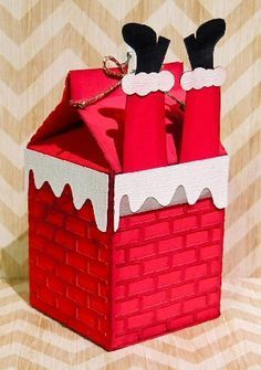 Chimney Milk Carton More / Demogram Christmas Gift For You, Noel Christmas, Christmas Gift Wrapping, Christmas Candy, Christmas Decorations, Craft Decorations, Christmas Makeup, Santa Crafts, Christmas Projects
