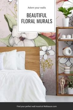 From pretty pink florals to delicate flower motifs, there is something for every garden lover to bring the outdoors into your home this summer. Pick out your favourite shade and incorporate this into your decor. Choose a wooden bed with crisp white bedding for your bedroom, or update your living room with a pastel pink scalloped chair, The styling possibilities are endless! Shop at Wallsauce.com! #floraldecor #interiorinspo #interiordesign Oriental Wallpaper, Wallpaper Companies, What's Your Style, Inspirational Wallpapers, Room Wallpaper, White Bedding, Surface Pattern Design, Pastel Pink, Wall Murals