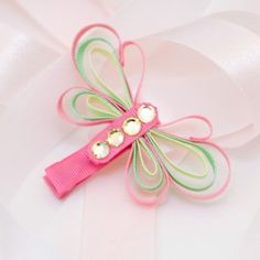 Pink, Yellow and Green Ribbon Butterfly Hairclip - Just 2 Crafty $5.50 each