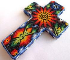 Huichol Beaded Crucifix / Cross by Aramara on Etsy