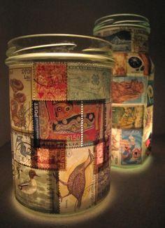 Nós amamos essa idéia - decorar um vaso antigo com selos coloridos, em seguida, inserir uma vela tealight