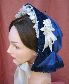 Straw  &  Silk Chenille Braid bonnet civil war era fashion