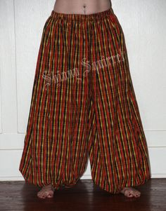 Red, orange, yellow black striped cotton harem pants by shinnysquirrel on Etsy