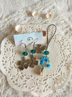 Luck clover Earrings crystal zipper chain turquoise wire wrap tree bag charm Keychain Emerald green chakra gift for mom wife gift for her