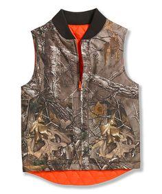 Love this Dark Brown Camo Reversible Vest - Boys by Carhartt on #zulily! #zulilyfinds