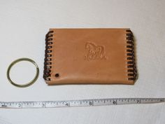 "Handmade leather coin key holder lite tan w/ brown 4"" X 2 3/4"" Horse #Handmade #keyholdercoinorcardholder"