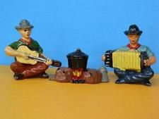 TIMPO TOYS VINTAGE 50s LEAD COWBOY MUSICIAN SET ACCORDIAN, GUITAR & CAMP FIRE