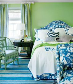 Spring Green and Bright Blue Green Rooms, Bedroom Green, Bedroom Colors, Bedroom Decor, Green Walls, Master Bedroom, Pretty Bedroom, White Bedroom, Teen Bedroom