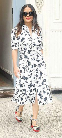 Salma Hayek in Altuzarra out in NYC. #bestdressed