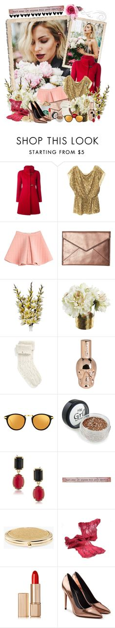 """Golden Girl"" by iheartkittys ❤ liked on Polyvore featuring FAY, Alice + Olivia, Marina Hoermanseder, Rebecca Minkoff, UGG, Linda Farrow, 1st & Gorgeous by Carolee, Natural Life, Chico's and Estée Lauder"