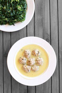 Youvarlakia, Greek egg lemon soup with minced beef meatballs & rice
