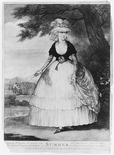 """Summer,"" hand-colored mezzotint, 1783, London."