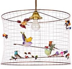 Bird cage lamp shade 23 diameter using wire mesh wrapped round chicken wire bird lampshade mozeypictures Choice Image