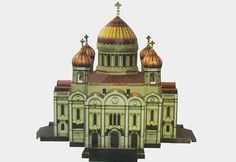 Cathedral of Christ the Saviour, a cathedral in Moscow, Russia, on the northern bank of the Moskva River, a few blocks southwest of the Kremlin, the papercraft is created by YAM, and the scale is in 1:250.
