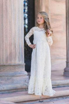 Maybelle Buttercream Long Sleeve Lace Ruffle Bottom Lace Gown Dress - Just Couture