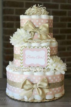 Baby shower decorations · initials · 3 tier blush pink and champagne gold diaper cake, baby girl, elegant pink and Baby Shower Floral, Idee Baby Shower, Fiesta Baby Shower, Baby Shower Diapers, Girl Shower, Baby Shower Cakes, Baby Shower Parties, Baby Shower Themes, Baby Shower Gifts