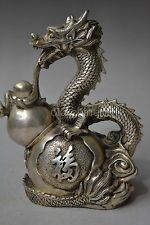 China vintage collectible home decor tibet silver dragon guard Aquarius statue