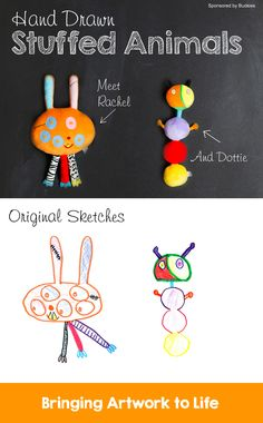 A stuffed animal made from a child's drawing #budsie *Have you seen this before? Too cool.