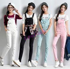 New Korean Women Loose Strap Suspender Pants Jumpsuit Romper Overalls Trousers Suspenders Fashion, Suspenders Outfit, Suspenders For Women, Denim Overall, Suspender Pants, Trouser Outfits, Korean Fashion Trends, Fashion 101, Womens Fashion