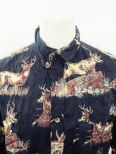 Retro Deer Hunter Trapper Geometric Print Pattern Western Cowboy Shirt L
