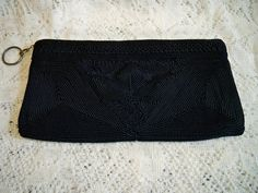 Vintage 1940s Black Corde Evening Bag Clutch Purse by BlackRain4